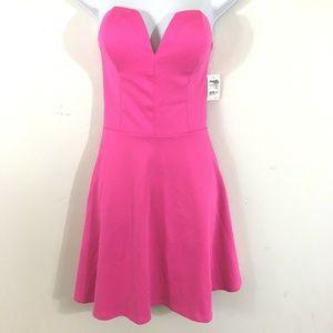 Charlotte Russe Dress L Hot Pink Strapless New I6
